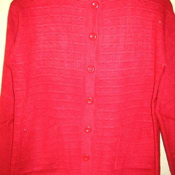 gilet boutonné mohair avec poches pour dame - # rouge 42/44 46/48