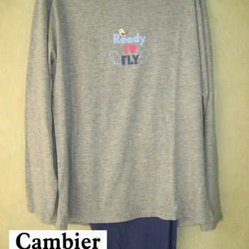 pyjama coton jersey pour dame - ready to fly - gris - reste M