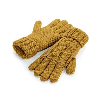 gants tricot moutarde