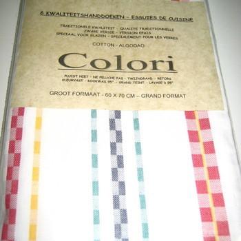 essuies de vaisselle 100% coton - colori - 60*70cm - 6 pour 15.40€