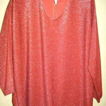 blouse avec fil argenté V pour dame - grandes tailles OCRE OU ROUILLE - fête