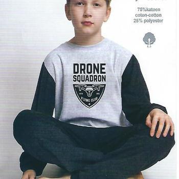pyjama velours rasé pour garçon de 8 à 16 ans - drone gris noir - 8 ans - 10 ans - 12 ans - 14 ans
