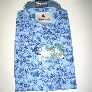 chemise courtes manches ciel fleurée pour homme