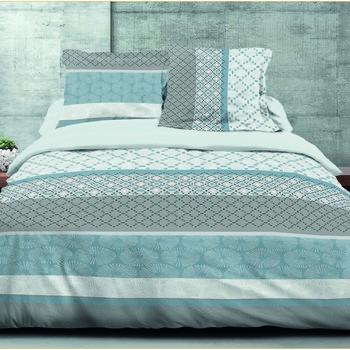 drap plat + drap housse + 1 taie en 100% coton - bleu/gris
