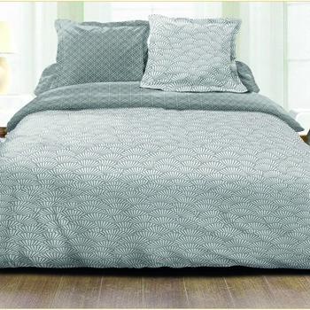 drap plat + drap housse 1.60*2m + 2 taies pour lit de 2 personnes - 100% coton - gris/blanc