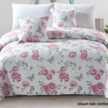 couvre-lit boutis fleuré pour lit d'1 personne - fleurs bleu