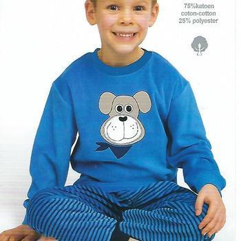 pyjama velours rasé chien bleu clair - reste 2 ans 5 ans 6 ans