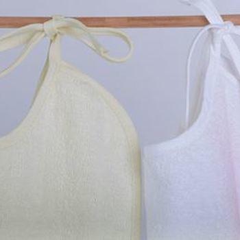 bavoir maxi éponge avec lichette - blanc ou écru