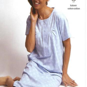 robe de nuit courtes manches coton pour dame - ciel L XL