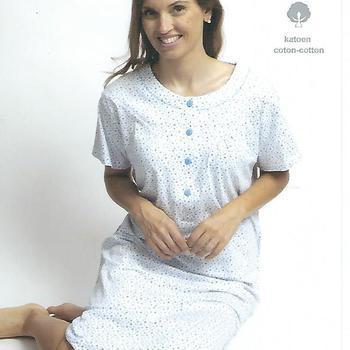 robe de nuit courtes manches coton pour dame - fond blanc ciel L XXL