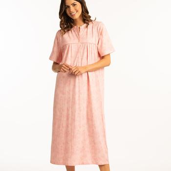 robe de nuit courtes manches coton pour dame - saumon