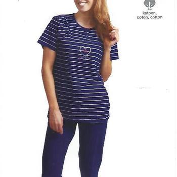 pyjama corsaire coton pour dame - marine - reste S