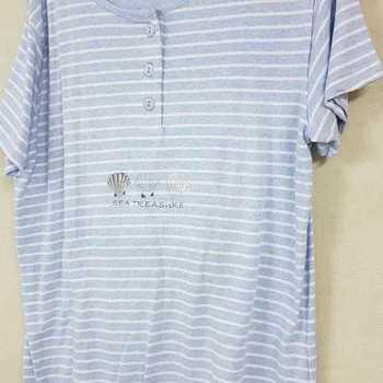 pyjama corsaire coton pour dame - == chiné ciel reste S M
