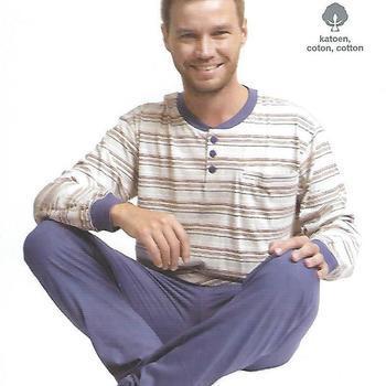 pyjama coton jersey 3 boutons == fond clair pour homme - reste S - M - L - XL