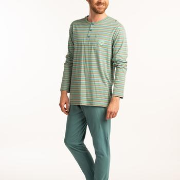 pyjama coton jersey 3 boutons pour homme - grandes tailles - pétrole ===