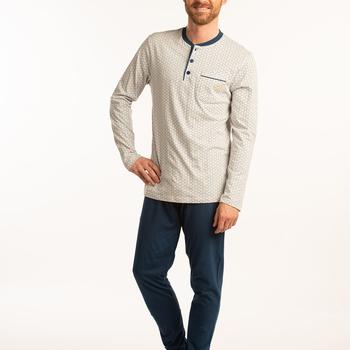 pyjama coton jersey 3 boutons pour homme - grandes tailles - beige marine