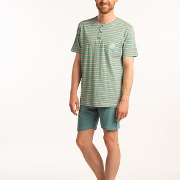 pyjashort coton jersey pour homme - == vert aussi de grandes tailles - 3 boutons