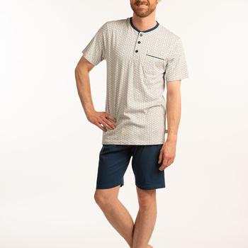 pyjashort coton jersey pour homme - beige/marine aussi de grandes tailles