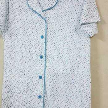 pyjama corsaire boutonné pour dame en coton - pois turquoise S