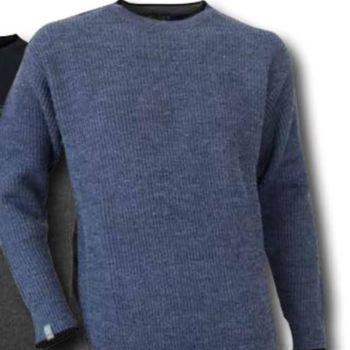 pull ras du cou maille anglaise pour homme avec de la laine - café