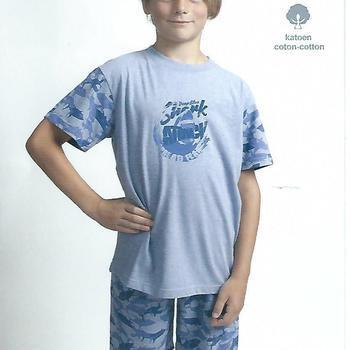 pyjashort coton jersey pour garçon - shark jeans 8 ans 10 ans 14 ans
