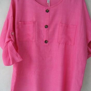 blouse chemisier uni pour dame - grandes tailles - rose ou bic