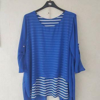 blouse manches 3/4 ou longues marin voilage pour dame avec colllier - différents coloris