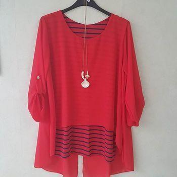 blouse manches 3/4 ou longues marin voilage pour dame avec collier - rouge 46/52