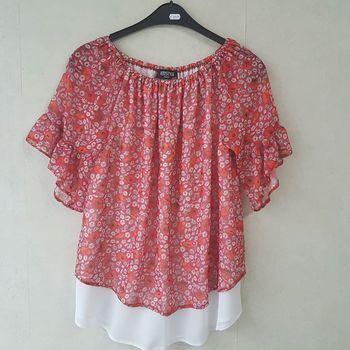 blouse courtes manches froufrou pour dame - 42/44 rouge