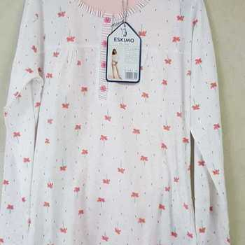 pyjama coton jersey boutonné pour dame - ambretta - saumon - reste XL - 3XL - 4XL