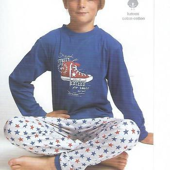 pyjama coton jersey pour garçon basket marine - reste 8 ans 10 ans 12 ans