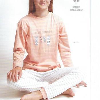pyjama coton jersey pour filles - tongs saumon 10 ans - 14 ans