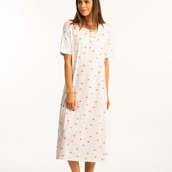 robe de nuit courtes manches coton pour dame - ambretta aussi de grandes tailles