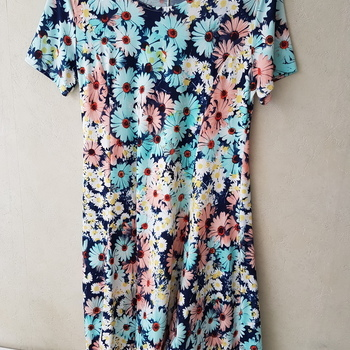 robe courtes manches fluide à motif - 46/48