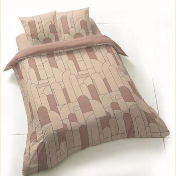 drap plat + drap housse + 1 taie en 100% coton - écru/bordeau