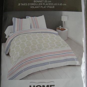 drap plat + drap housse 1.60*2m + 2 taies pour lit de 2 personnes - 100% coton - beige rouge bleu