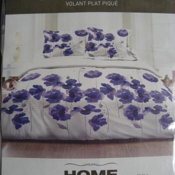 drap plat + drap housse 1.60*2m + 2 taies pour lit de 2 personnes - 100% coton - fleurs mauves