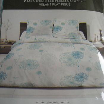 drap plat + drap housse 1.60*2m + 2 taies pour lit de 2 personnes - 100% coton - fleurs turquoise