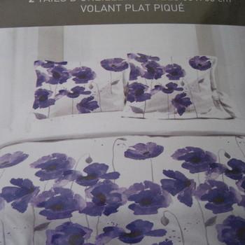 drap plat + drap housse 1.80*2m + 2 taies pour lit de 2 pers - extra grand en coton - fleurs mauves