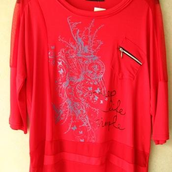 t-shirt fluide manches 3/4 2W Paris - grandes tailles rouge EN PROMO