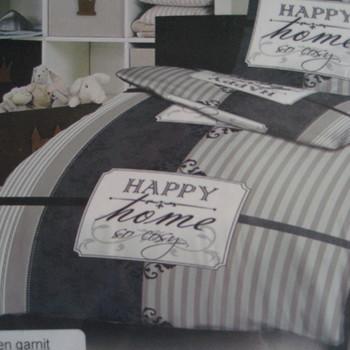 drap plat + drap housse + 1 taie en 100% coton - happy home gris