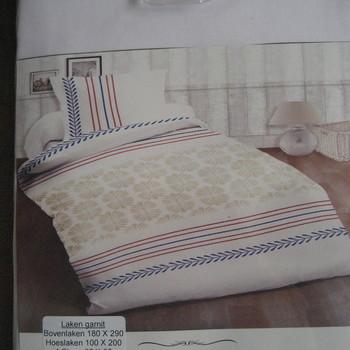 drap plat + drap housse + 1 taie en 100% coton - beige rouge bleu