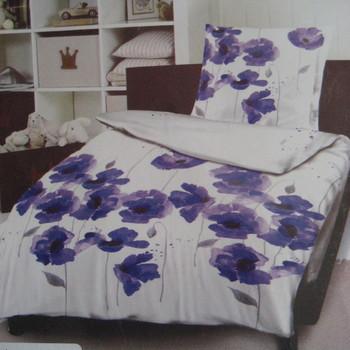 drap plat + drap housse + 1 taie en 100% coton - fleurs mauves