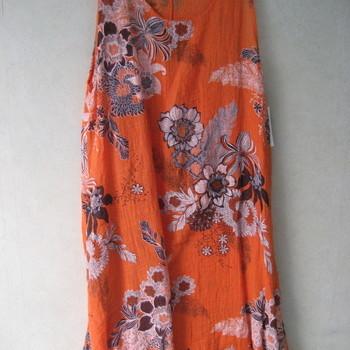 robe bain de soleil fleuré pour dame coton orange