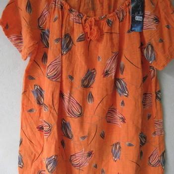 blouse avec cordelettes pour dame - tulipes en orange