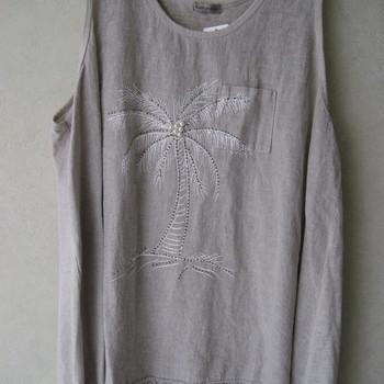 top coton-lin pour dame avec palmier - grandes tailles pour dame - différents coloris