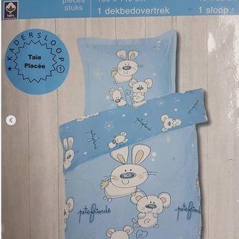 housse de couette + 1 taie en coton pour lit-cage - lapin bleu