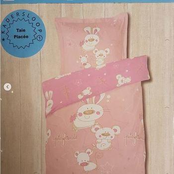housse de couette + 1 taie en coton pour lit-cage - lapin rose