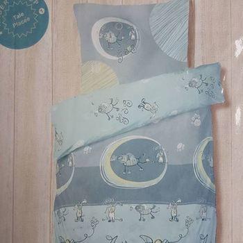 housse de couette + 1 taie en coton pour lit-cage - bleu gris