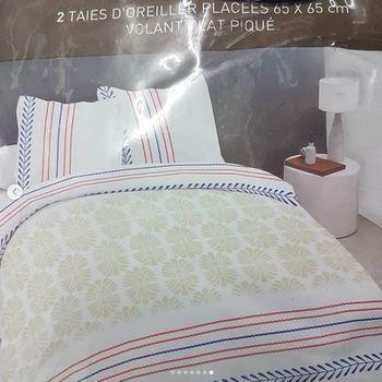 drap plat + drap housse 1.80*2m + 2 taies pour lit de 2 pers - extra grand en coton - beige rouge bleu
